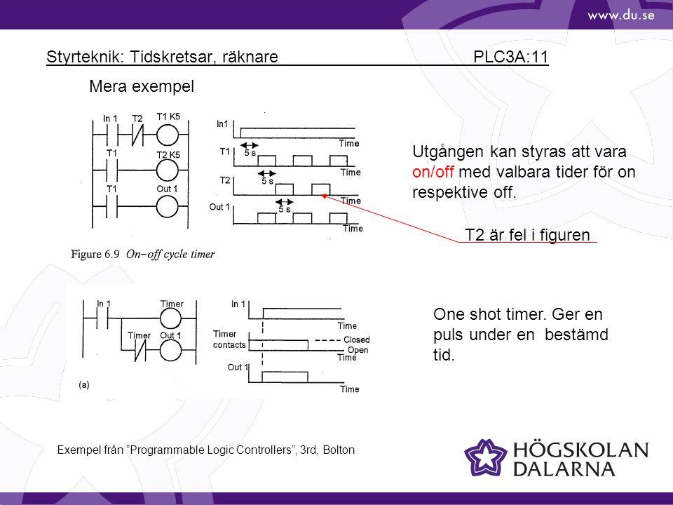 Styrteknik: Tidskretsar, räknare PLC3A:11 Mera exempel Utgången kan styras att vara on/off med valbara tider för on respektive off. One shot timer. Ge