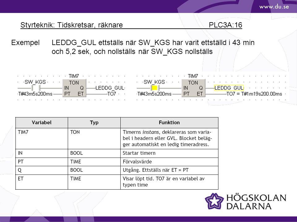 Styrteknik: Tidskretsar, räknare PLC3A:16 LEDDG_GUL ettställs när SW_KGS har varit ettställd i 43 min och 5,2 sek, och nollställs när SW_KGS nollställ
