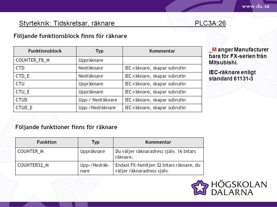 Styrteknik: Tidskretsar, räknare PLC3A:26 _M anger Manufacturer bara för FX-serien från Mitsubishi. IEC-räknare enligt standard 61131-3