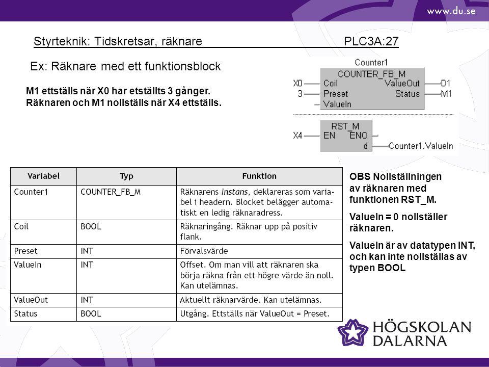Styrteknik: Tidskretsar, räknare PLC3A:27 M1 ettställs när X0 har etställts 3 gånger. Räknaren och M1 nollställs när X4 ettställs. OBS Nollställningen