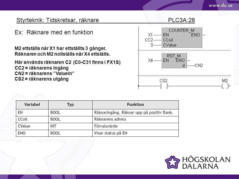 Styrteknik: Tidskretsar, räknare PLC3A:28 Ex: Räknare med en funktion M2 ettställs när X1 har ettställts 3 gånger. Räknaren och M2 nollställs när X4 e