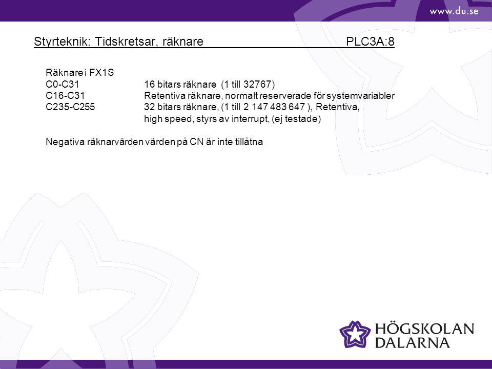 Styrteknik: Tidskretsar, räknare PLC3A:8 Räknare i FX1S C0-C3116 bitars räknare (1 till 32767) C16-C31Retentiva räknare, normalt reserverade för syste