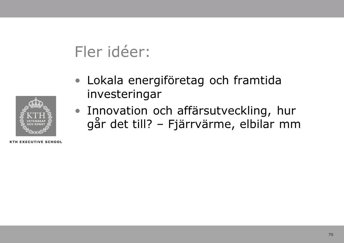 70 Fler idéer: Lokala energiföretag och framtida investeringar Innovation och affärsutveckling, hur går det till? – Fjärrvärme, elbilar mm