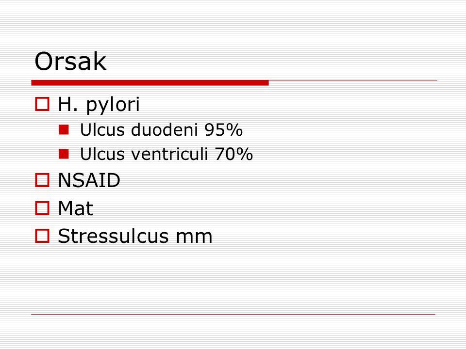 Orsak  H. pylori Ulcus duodeni 95% Ulcus ventriculi 70%  NSAID  Mat  Stressulcus mm
