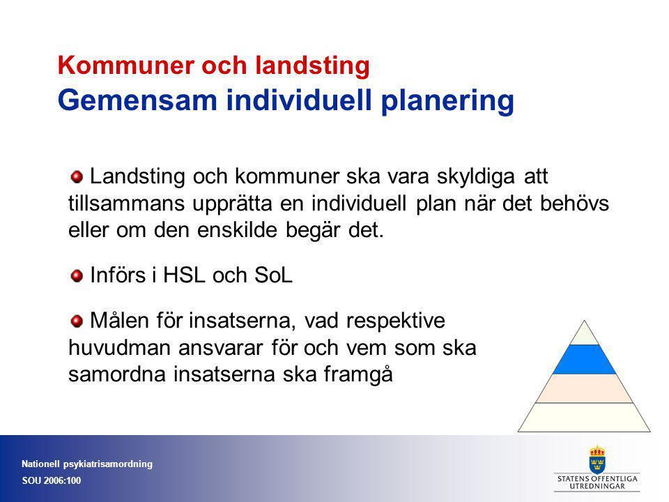 Nationell psykiatrisamordning SOU 2006:100 Kommuner och landsting Gemensam individuell planering Landsting och kommuner ska vara skyldiga att tillsamm