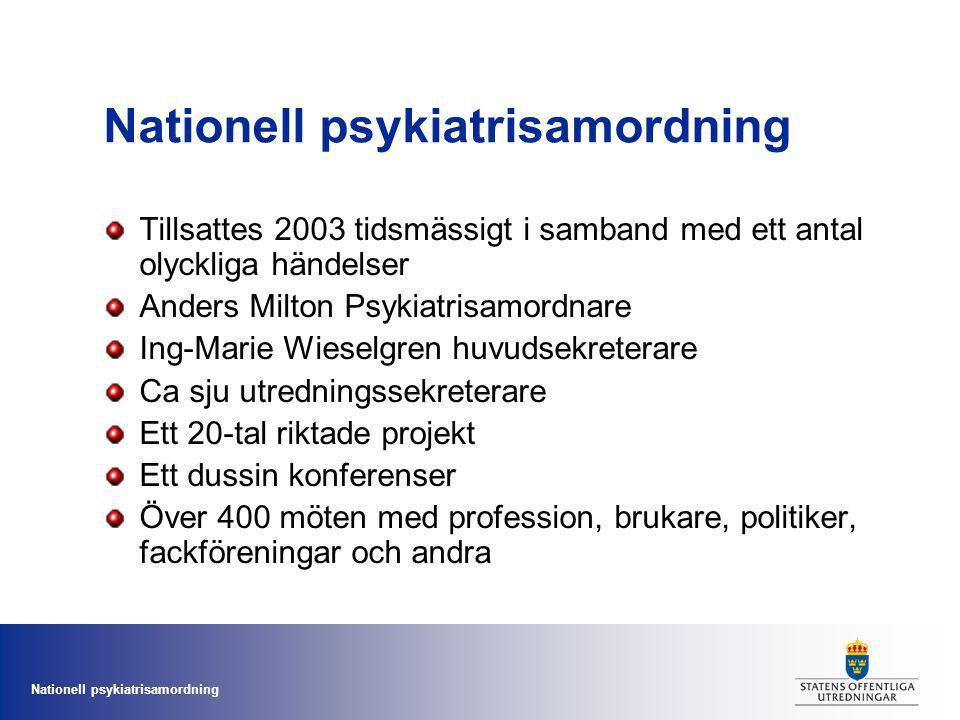 Nationell psykiatrisamordning Tillsattes 2003 tidsmässigt i samband med ett antal olyckliga händelser Anders Milton Psykiatrisamordnare Ing-Marie Wies