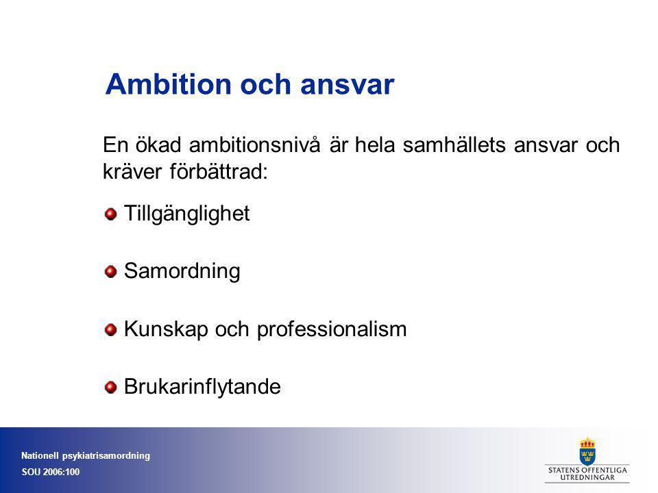 Nationell psykiatrisamordning SOU 2006:100 Ambition och ansvar En ökad ambitionsnivå är hela samhällets ansvar och kräver förbättrad: Tillgänglighet S