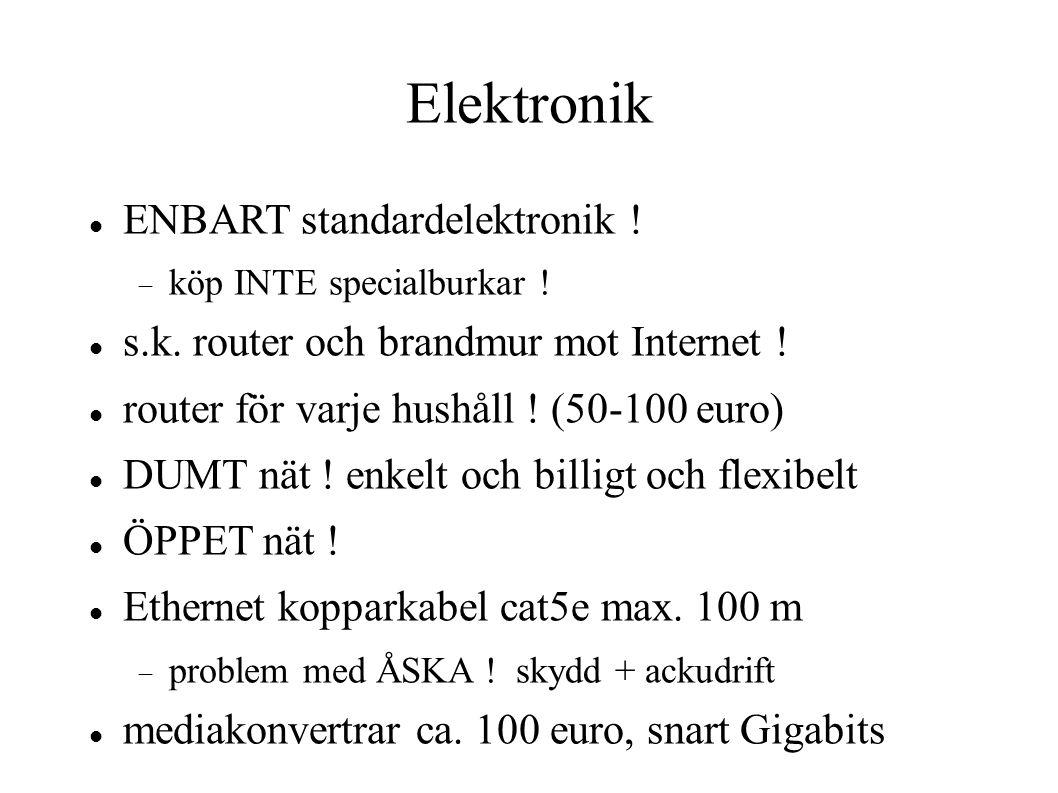 Elektronik ENBART standardelektronik .  köp INTE specialburkar .