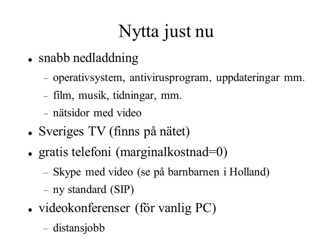 Nytta just nu snabb nedladdning  operativsystem, antivirusprogram, uppdateringar mm.