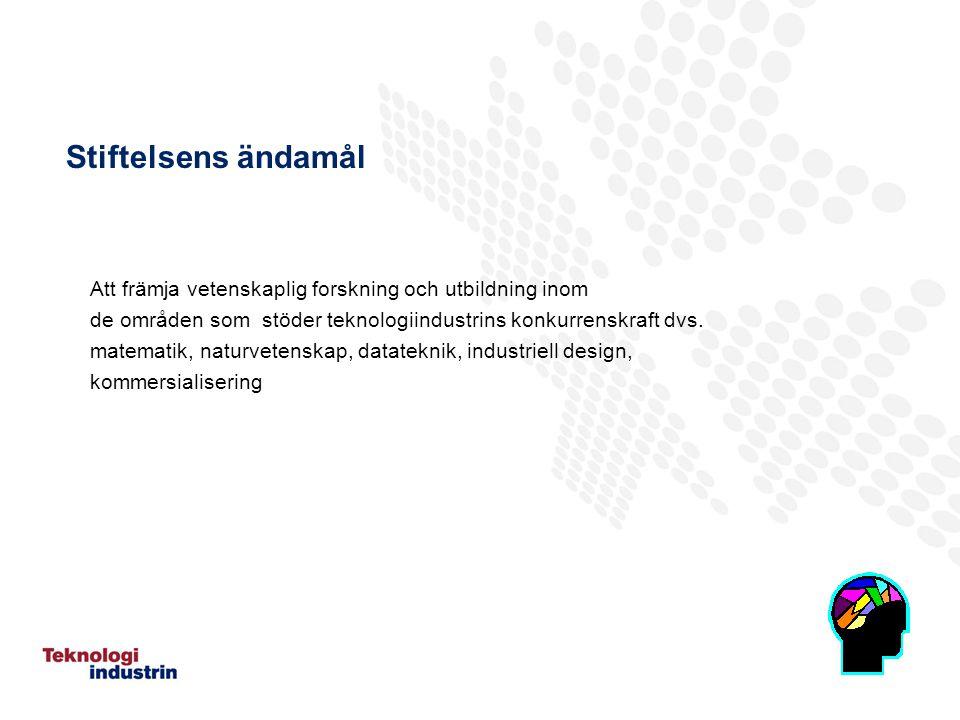 Stiftelsens ändamål Att främja vetenskaplig forskning och utbildning inom de områden som stöder teknologiindustrins konkurrenskraft dvs.