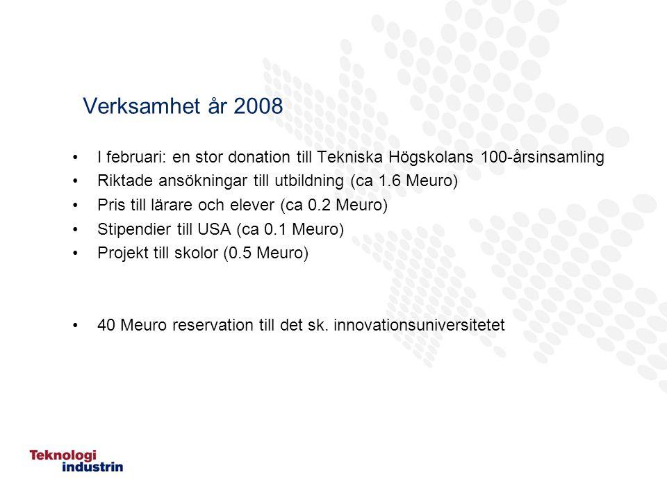 Verksamhet år 2008 I februari: en stor donation till Tekniska Högskolans 100-årsinsamling Riktade ansökningar till utbildning (ca 1.6 Meuro) Pris till lärare och elever (ca 0.2 Meuro) Stipendier till USA (ca 0.1 Meuro) Projekt till skolor (0.5 Meuro) 40 Meuro reservation till det sk.