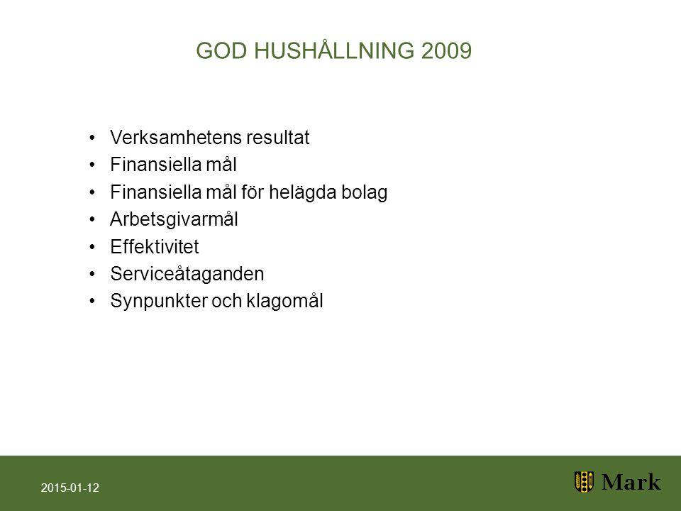 GOD HUSHÅLLNING 2009 Verksamhetens resultat Finansiella mål Finansiella mål för helägda bolag Arbetsgivarmål Effektivitet Serviceåtaganden Synpunkter och klagomål 2015-01-12