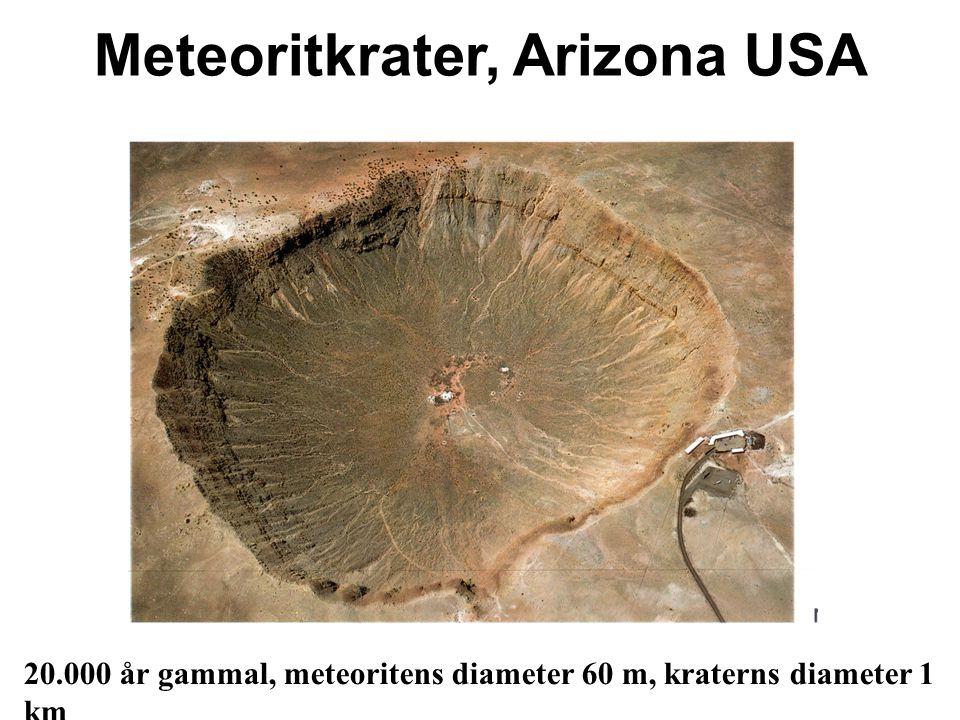 Meteoritkrater, Arizona USA 20.000 år gammal, meteoritens diameter 60 m, kraterns diameter 1 km