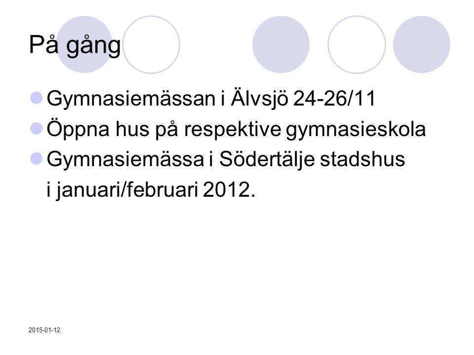 På gång Gymnasiemässan i Älvsjö 24-26/11 Öppna hus på respektive gymnasieskola Gymnasiemässa i Södertälje stadshus i januari/februari 2012. 2015-01-12
