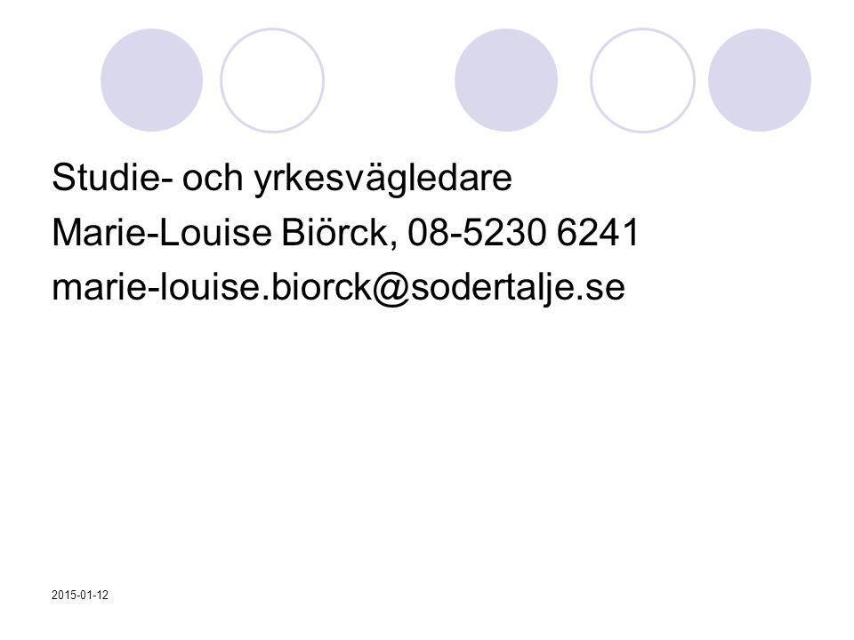 Studie- och yrkesvägledare Marie-Louise Biörck, 08-5230 6241 marie-louise.biorck@sodertalje.se 2015-01-12