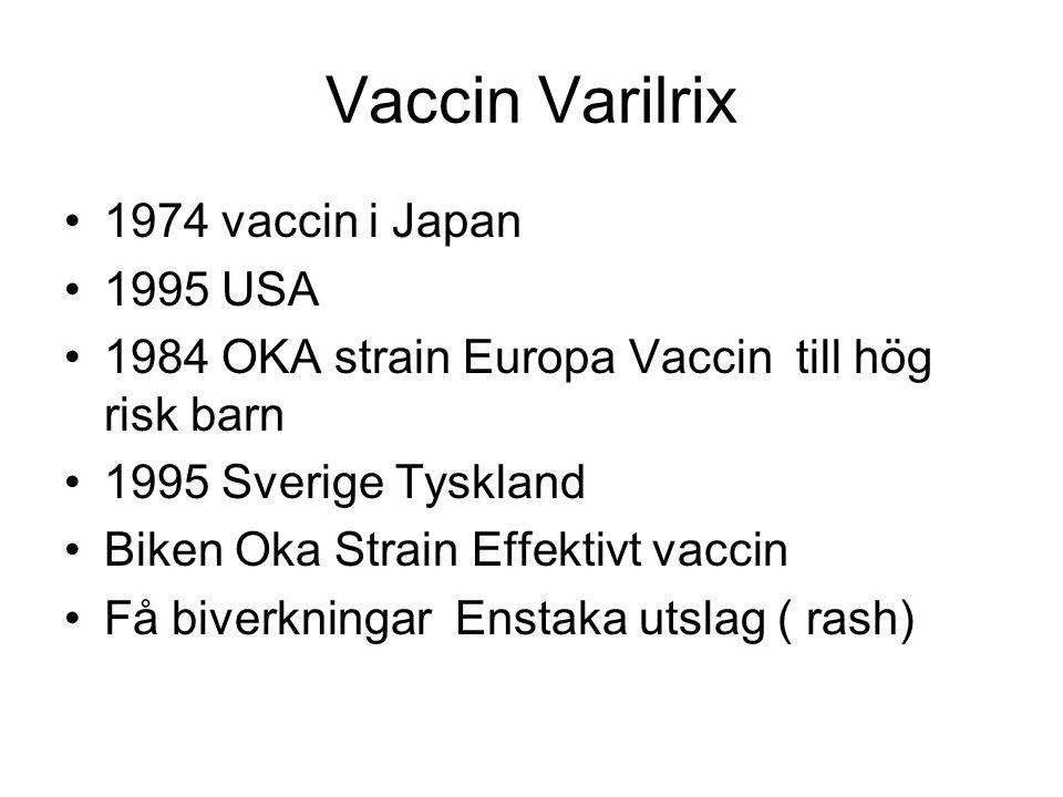 Effektivitet Varicella vaccin 98% skydd under 2 år med varicellaexposition 95% skydd efter 7 års uppföljning Antikroppar fanns kvar i 100% vid 6 års uppföljning USA Mars 1995-Juli 1998 gavs 9,7 million doser 6580 biverkningar,4% allvarlig men mindre än vid sjukdom Rash= utslag 37/ 100 000 givna vaccindoser