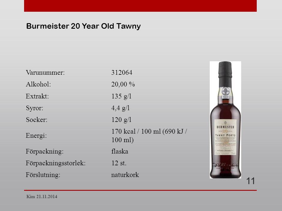 Varunummer:312064 Alkohol:20,00 % Extrakt:135 g/l Syror:4,4 g/l Socker:120 g/l Energi: 170 kcal / 100 ml (690 kJ / 100 ml) Förpackning:flaska Förpackningsstorlek:12 st.