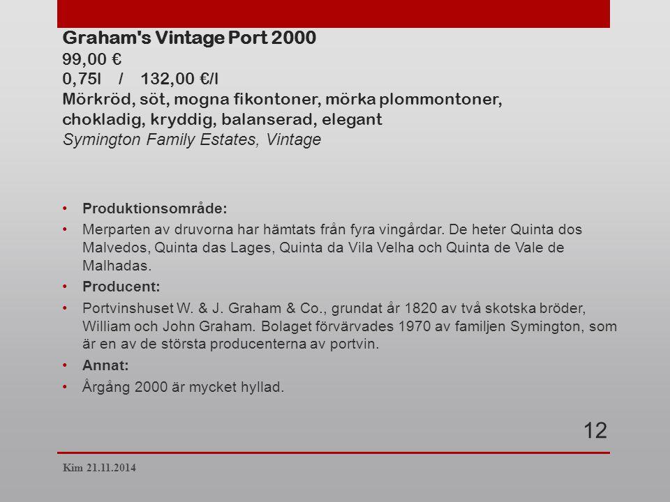 Graham s Vintage Port 2000 99,00 € 0,75l / 132,00 €/l Mörkröd, söt, mogna fikontoner, mörka plommontoner, chokladig, kryddig, balanserad, elegant Symington Family Estates, Vintage Produktionsområde: Merparten av druvorna har hämtats från fyra vingårdar.