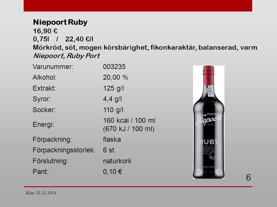 Varunummer:003235 Alkohol:20,00 % Extrakt:125 g/l Syror:4,4 g/l Socker:110 g/l Energi: 160 kcal / 100 ml (670 kJ / 100 ml) Förpackning:flaska Förpackningsstorlek:6 st.