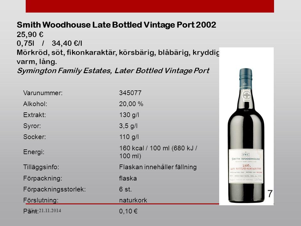Varunummer:345077 Alkohol:20,00 % Extrakt:130 g/l Syror:3,5 g/l Socker:110 g/l Energi: 160 kcal / 100 ml (680 kJ / 100 ml) Tilläggsinfo:Flaskan innehåller fällning Förpackning:flaska Förpackningsstorlek:6 st.