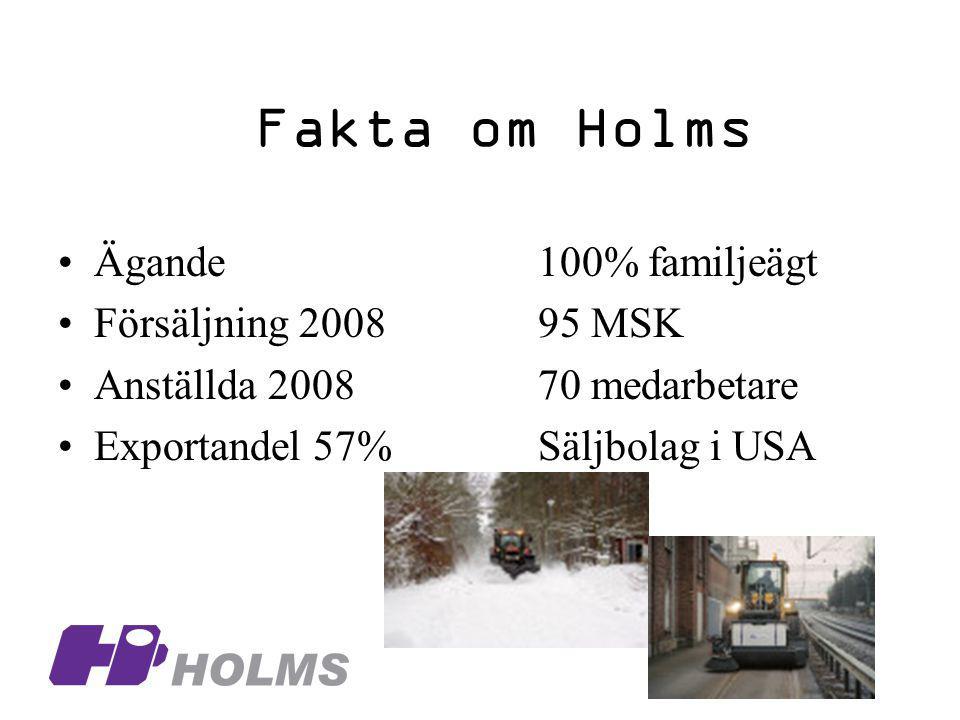 Fakta om Holms Ägande100% familjeägt Försäljning 200895 MSK Anställda 200870 medarbetare Exportandel 57%Säljbolag i USA