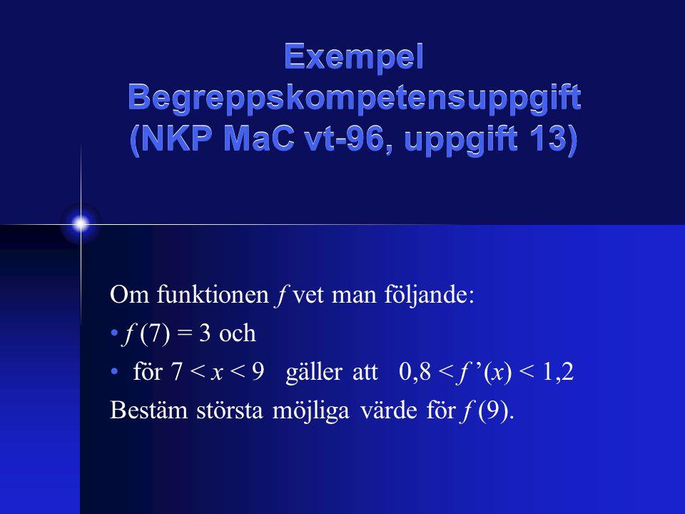 Exempel Begreppskompetensuppgift (NKP MaC vt-96, uppgift 13) Om funktionen f vet man följande: f (7) = 3 och för 7 < x < 9 gäller att 0,8 < f '(x) < 1,2 Bestäm största möjliga värde för f (9).