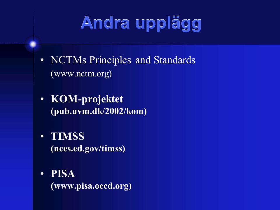 Andra upplägg NCTMs Principles and Standards (www.nctm.org) KOM-projektet (pub.uvm.dk/2002/kom) TIMSS (nces.ed.gov/timss) PISA (www.pisa.oecd.org)