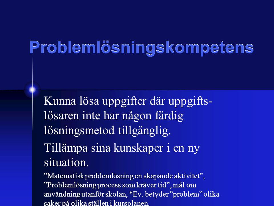 Problemlösningskompetens Kunna lösa uppgifter där uppgifts- lösaren inte har någon färdig lösningsmetod tillgänglig.