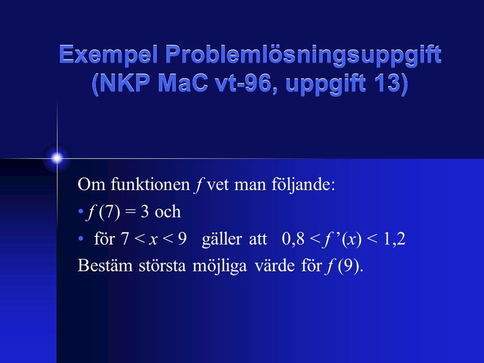 Exempel Problemlösningsuppgift (NKP MaC vt-96, uppgift 13) Om funktionen f vet man följande: f (7) = 3 och för 7 < x < 9 gäller att 0,8 < f '(x) < 1,2 Bestäm största möjliga värde för f (9).
