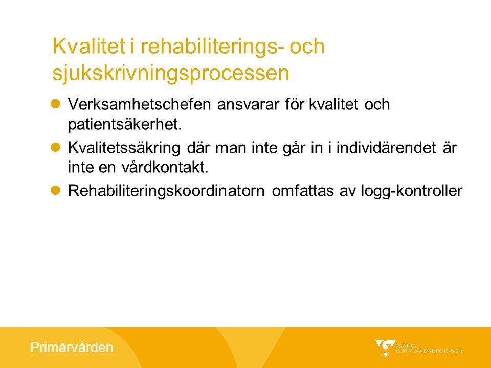 Primärvården Kvalitet i rehabiliterings- och sjukskrivningsprocessen Verksamhetschefen ansvarar för kvalitet och patientsäkerhet.