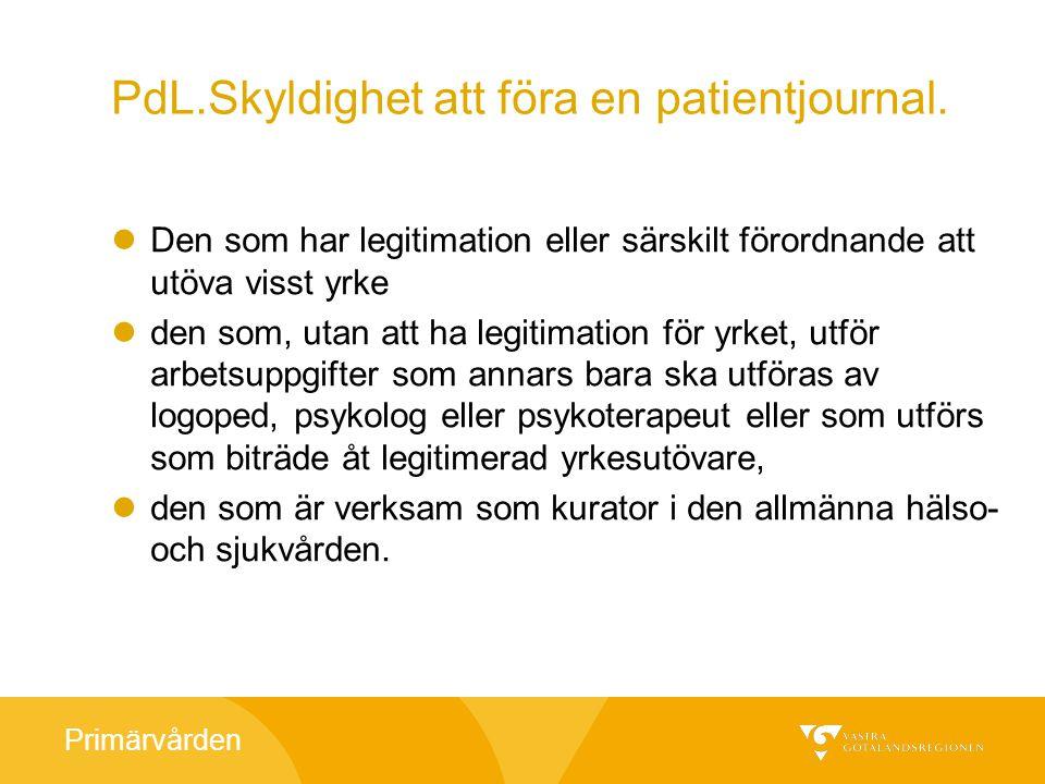 Primärvården Ansvar för uppgifter i en patientjournal Den som för patientjournal ansvarar för sina uppgifter i journalen.