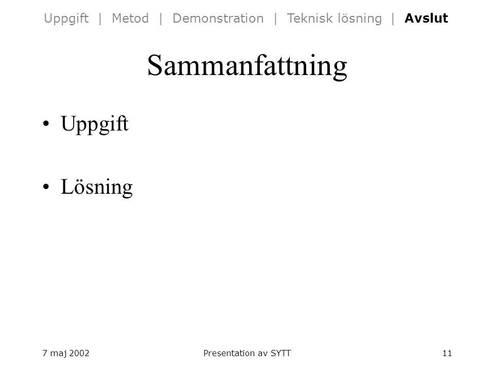 7 maj 2002Presentation av SYTT11 Sammanfattning Uppgift Lösning Uppgift | Metod | Demonstration | Teknisk lösning | Avslut