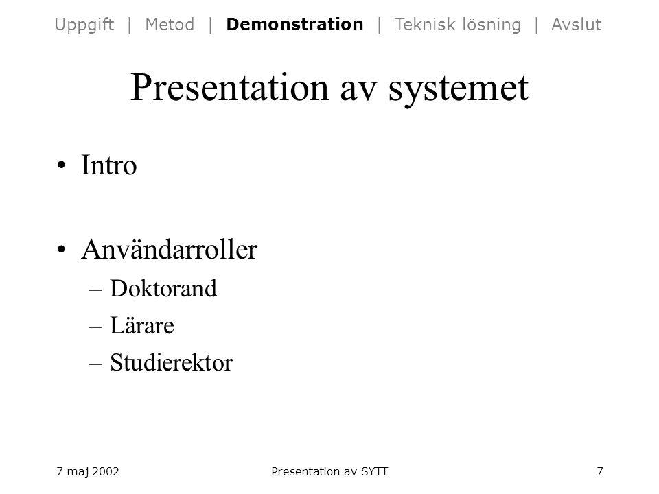 7 maj 2002Presentation av SYTT7 Presentation av systemet Intro Användarroller –Doktorand –Lärare –Studierektor Uppgift | Metod | Demonstration | Teknisk lösning | Avslut