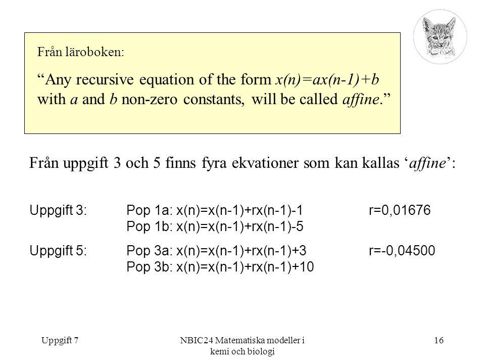 """Uppgift 7NBIC24 Matematiska modeller i kemi och biologi 16 Från läroboken: """"Any recursive equation of the form x(n)=ax(n-1)+b with a and b non-zero co"""