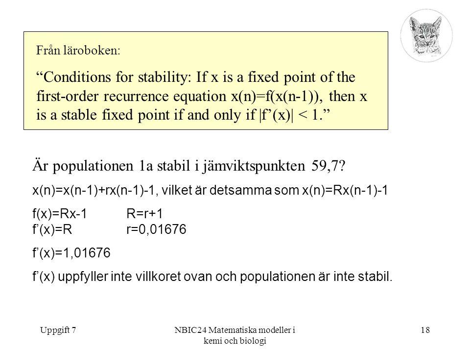 """Uppgift 7NBIC24 Matematiska modeller i kemi och biologi 18 Från läroboken: """"Conditions for stability: If x is a fixed point of the first-order recurre"""