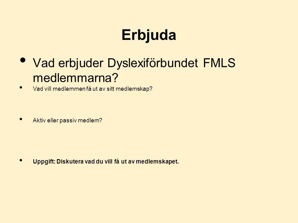 Erbjuda Vad erbjuder Dyslexiförbundet FMLS medlemmarna.
