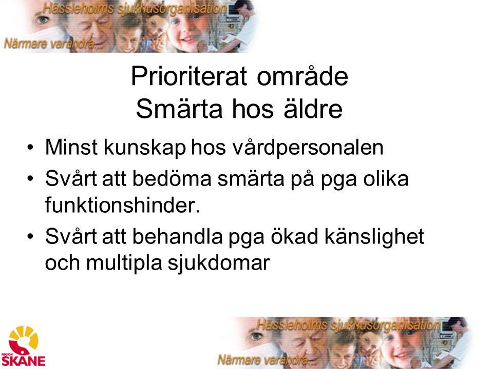 Prioriterat område Smärta hos äldre Minst kunskap hos vårdpersonalen Svårt att bedöma smärta på pga olika funktionshinder.