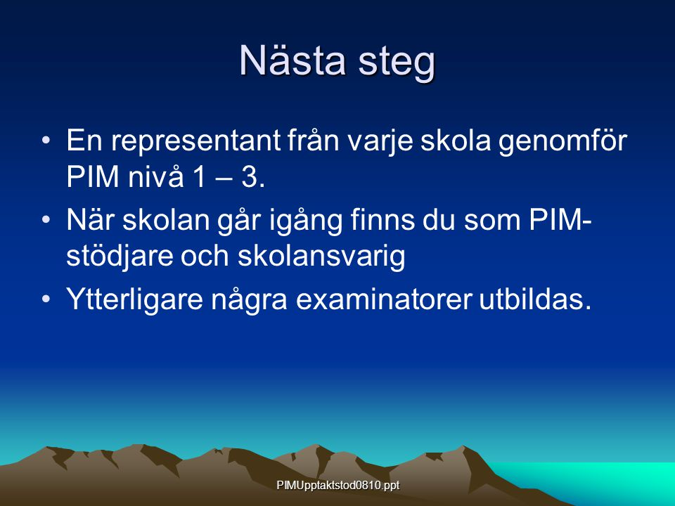PIMUpptaktstod0810.ppt Nästa steg En representant från varje skola genomför PIM nivå 1 – 3. När skolan går igång finns du som PIM- stödjare och skolan