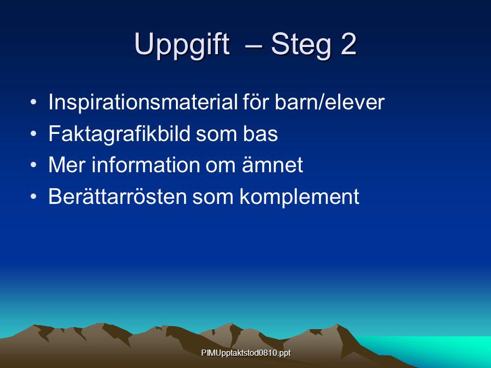 PIMUpptaktstod0810.ppt Uppgift – Steg 2 Inspirationsmaterial för barn/elever Faktagrafikbild som bas Mer information om ämnet Berättarrösten som kompl