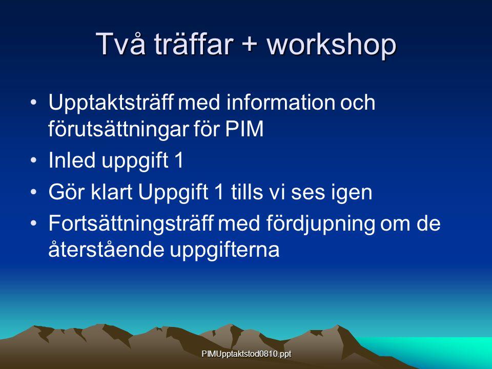 PIMUpptaktstod0810.ppt Två träffar + workshop Upptaktsträff med information och förutsättningar för PIM Inled uppgift 1 Gör klart Uppgift 1 tills vi ses igen Fortsättningsträff med fördjupning om de återstående uppgifterna