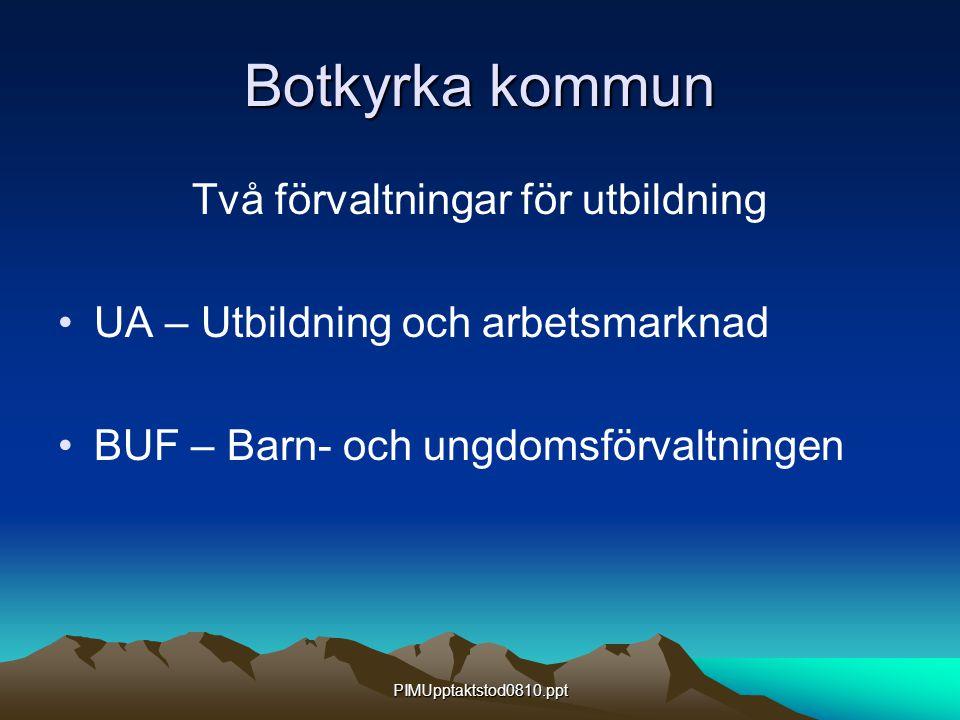 PIMUpptaktstod0810.ppt Botkyrka kommun Två förvaltningar för utbildning UA – Utbildning och arbetsmarknad BUF – Barn- och ungdomsförvaltningen