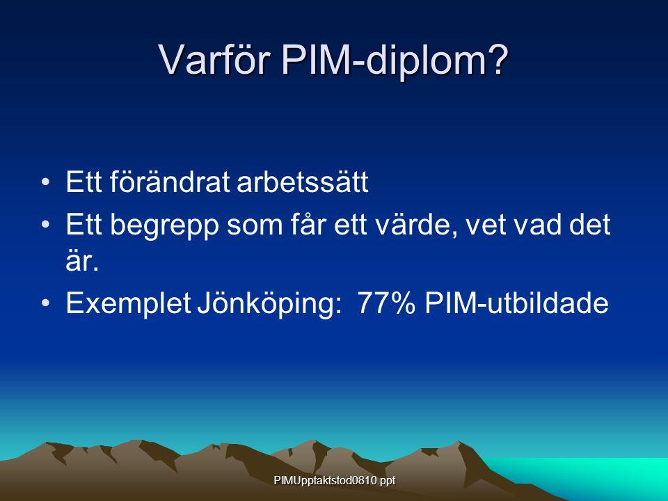 PIMUpptaktstod0810.ppt Varför PIM-diplom? Ett förändrat arbetssätt Ett begrepp som får ett värde, vet vad det är. Exemplet Jönköping: 77% PIM-utbildad