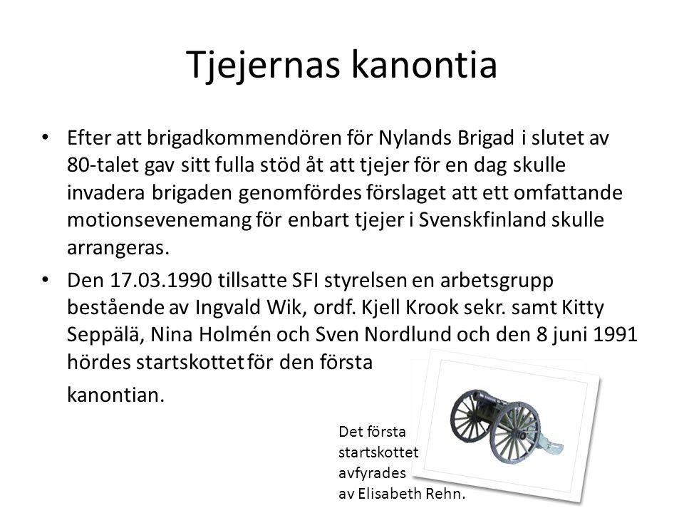 Tjejernas kanontia Efter att brigadkommendören för Nylands Brigad i slutet av 80-talet gav sitt fulla stöd åt att tjejer för en dag skulle invadera brigaden genomfördes förslaget att ett omfattande motionsevenemang för enbart tjejer i Svenskfinland skulle arrangeras.