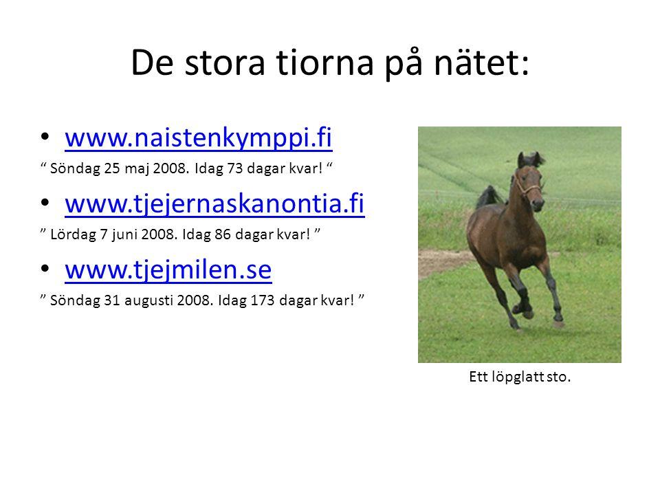"""De stora tiorna på nätet: www.naistenkymppi.fi """" Söndag 25 maj 2008. Idag 73 dagar kvar! """" www.tjejernaskanontia.fi """" Lördag 7 juni 2008. Idag 86 daga"""