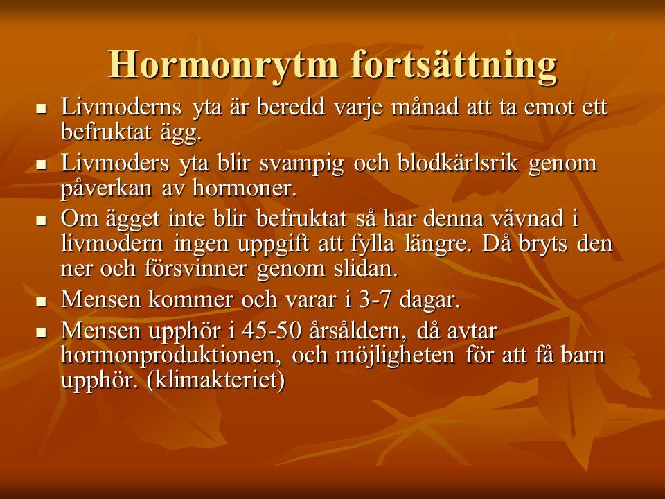 Hormonrytm fortsättning Livmoderns yta är beredd varje månad att ta emot ett befruktat ägg.