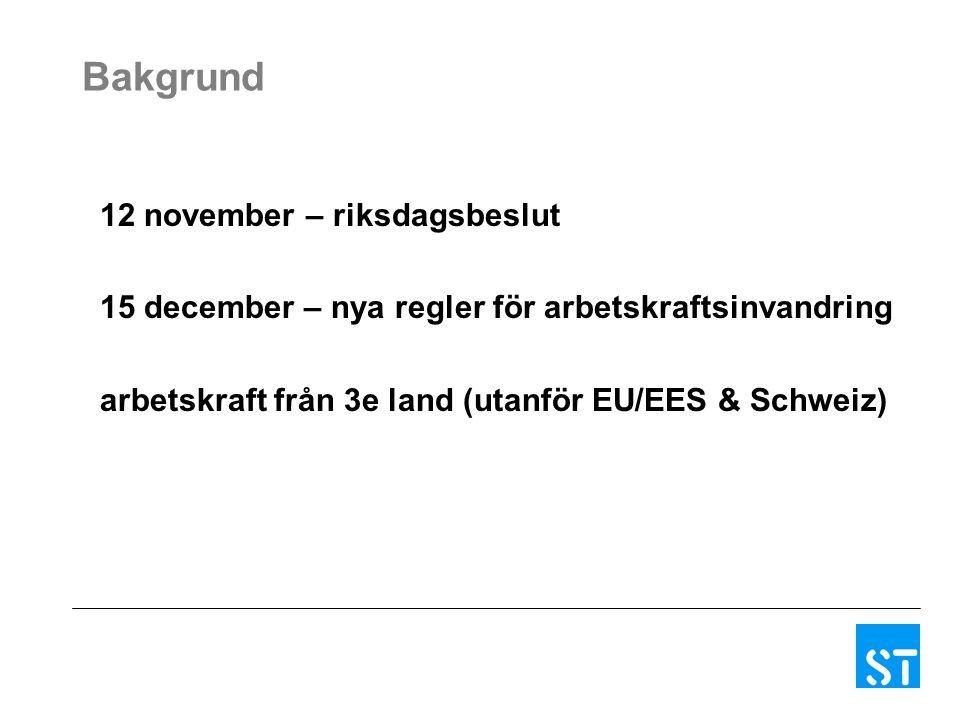 Bakgrund 12 november – riksdagsbeslut 15 december – nya regler för arbetskraftsinvandring arbetskraft från 3e land (utanför EU/EES & Schweiz)