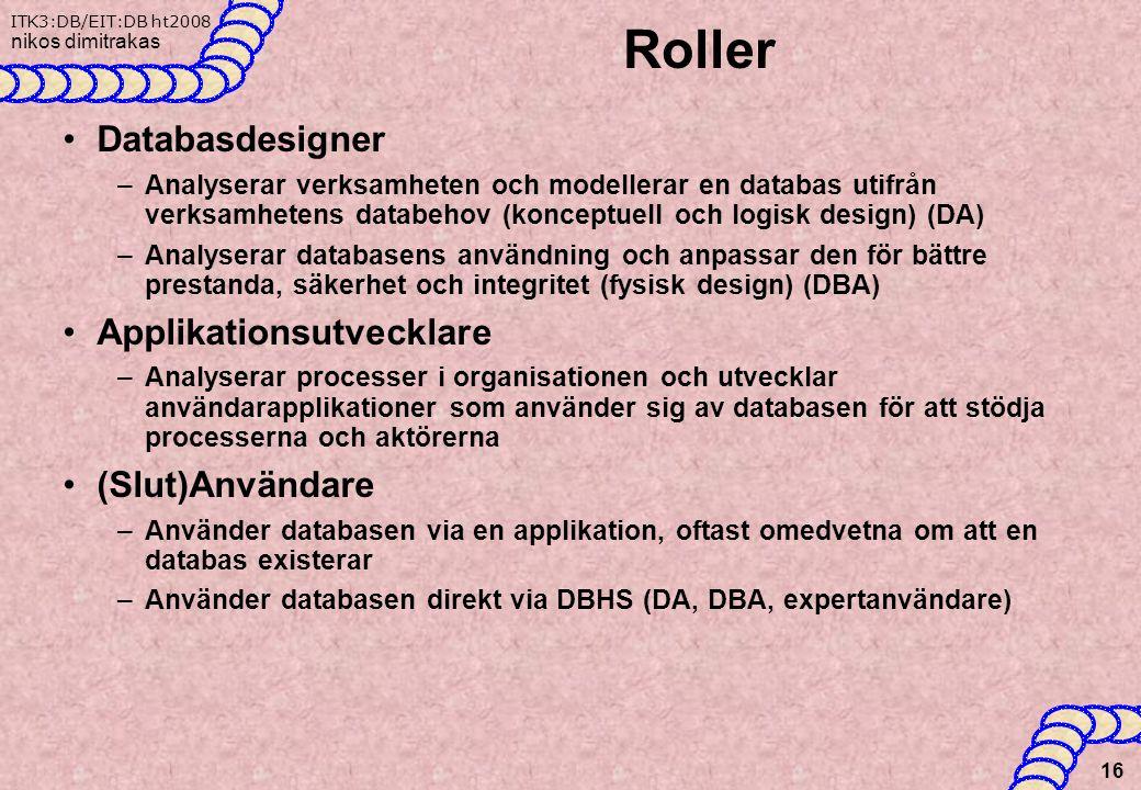 ITK3:DB/EIT:DB ht2008 nikos dimitrakas Roller Databasdesigner –Analyserar verksamheten och modellerar en databas utifrån verksamhetens databehov (konceptuell och logisk design) (DA) –Analyserar databasens användning och anpassar den för bättre prestanda, säkerhet och integritet (fysisk design) (DBA) Applikationsutvecklare –Analyserar processer i organisationen och utvecklar användarapplikationer som använder sig av databasen för att stödja processerna och aktörerna (Slut)Användare –Använder databasen via en applikation, oftast omedvetna om att en databas existerar –Använder databasen direkt via DBHS (DA, DBA, expertanvändare) 16