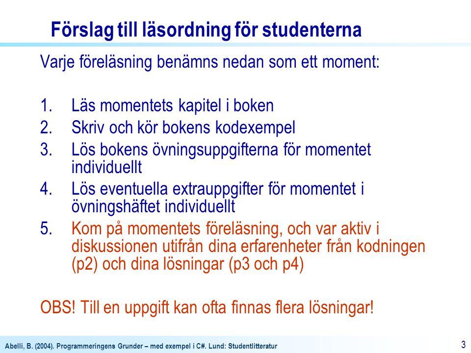 Abelli, B. (2004). Programmeringens Grunder – med exempel i C#. Lund: Studentlitteratur 3 Förslag till läsordning för studenterna Varje föreläsning be