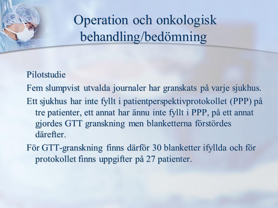 Operation och onkologisk behandling/bedömning Operation och onkologisk behandling/bedömning Pilotstudie Fem slumpvist utvalda journaler har granskats på varje sjukhus.
