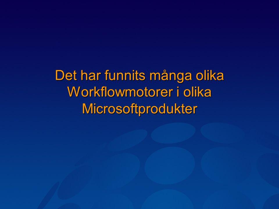 Det har funnits många olika Workflowmotorer i olika Microsoftprodukter
